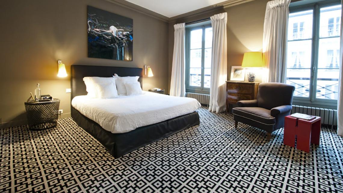 Chambre d 39 h tes moquette motif g om trique noir blanc - Chambre d hotes paris bastille ...