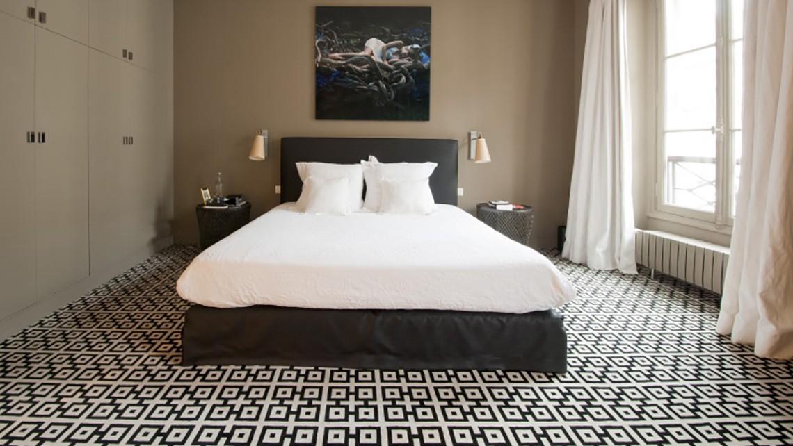 Chambre d 39 h tes moquette motif g om trique noir blanc for Moquette geometrique