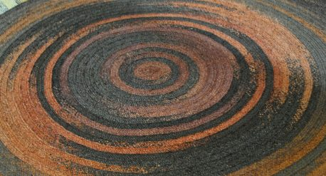 Tapis bleu et orange fibre naturel