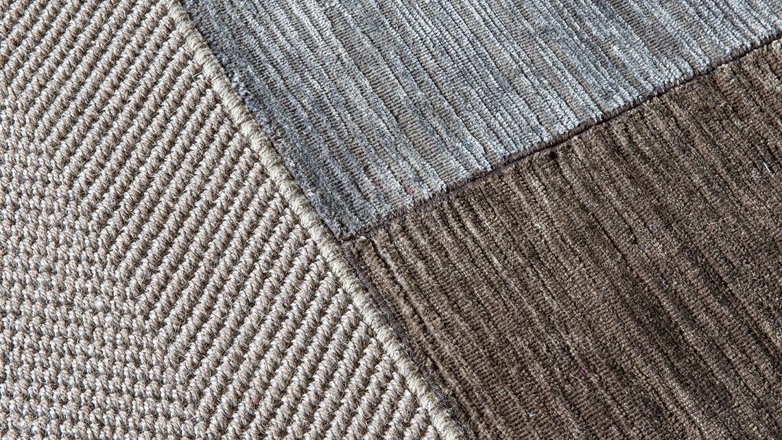 tapis noue main soie coloris naturel