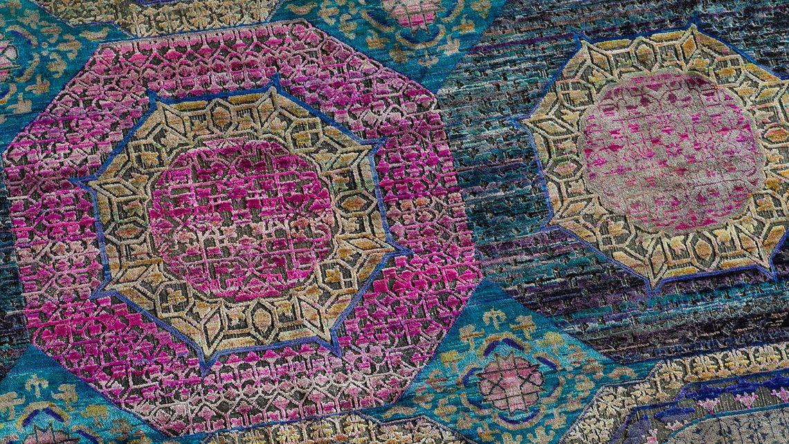 detail tapis codimat turquoise et rose