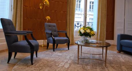 tapis rond beige doré codimat