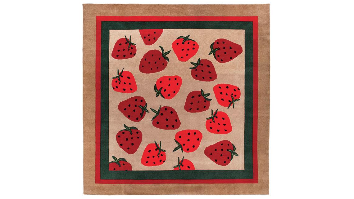 tapis aux motifs de fraises sauvages codimat