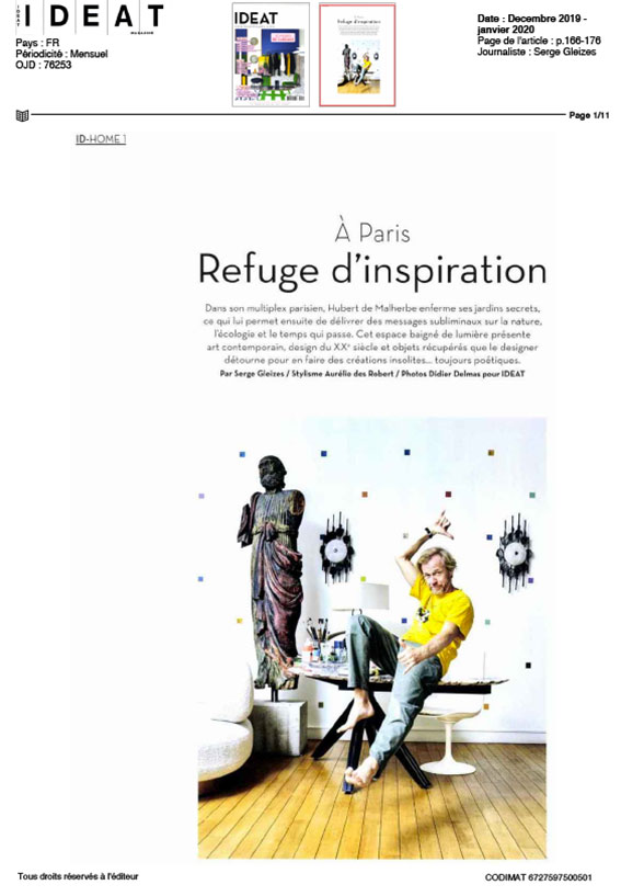 article refuge d'inspiration magazine marie claire maison décembre janvier 2020