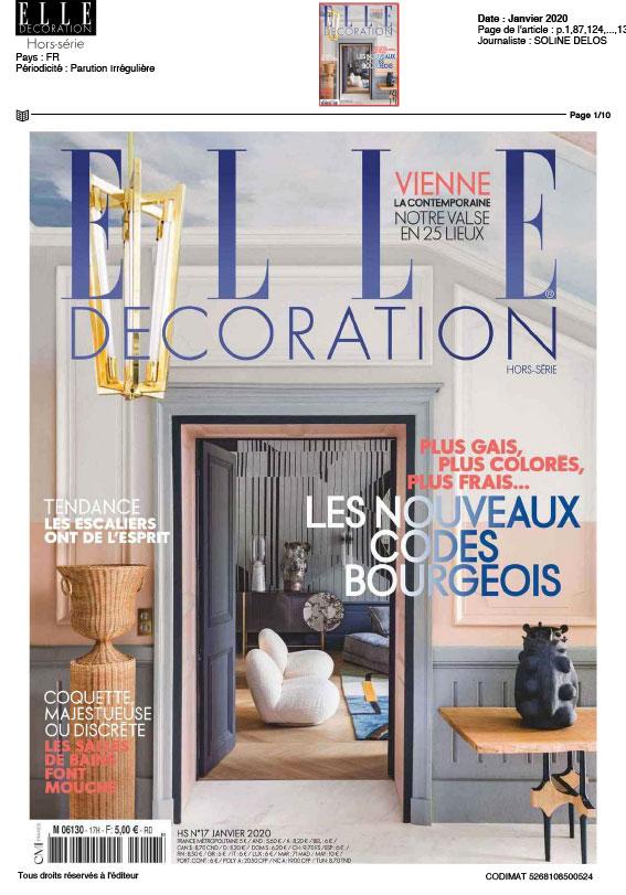 article revue Elle décoration janvier 2020
