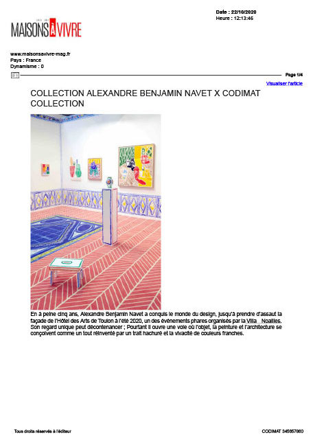 Tapis de Benjamin Navet pour Codimat