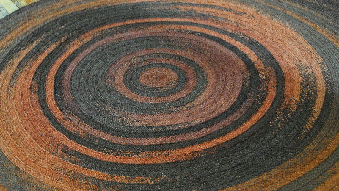 Tapis bleu et orange fibre naturel