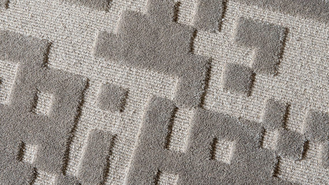 tapis structure lin gris