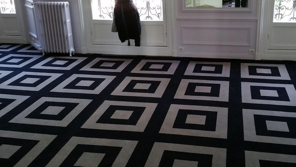 Moquette motif noir et blanc géométrique dessin Thierry C