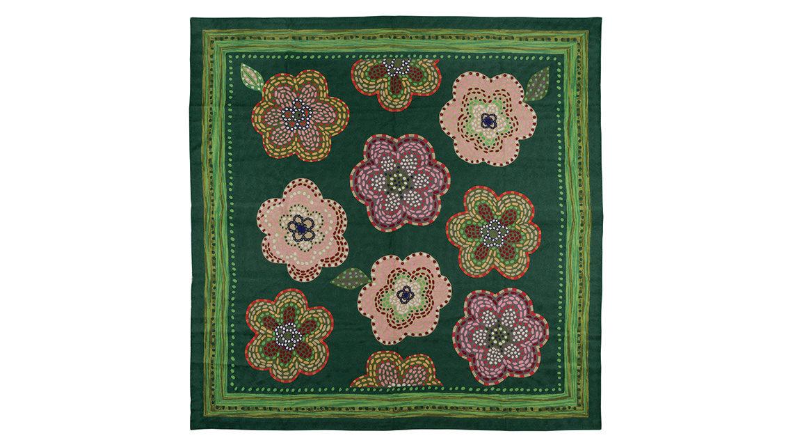 tapis vert motifs grandes fleurs codimat