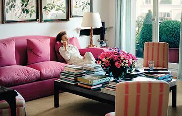 portrait Lee Radziwill dans son appartement parisien