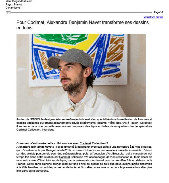 Pour Codimat, Alexandre-Benjamin Navet transforme ses dessins en tapis